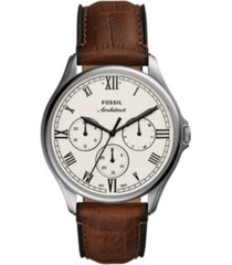 fossil men's arc-02 brown leather strap watch 44mm