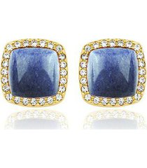 brinco toque de joia grumê quartzo azul com zircônias