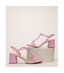 sandália feminina oneself bico quadrado salto médio grosso rosa
