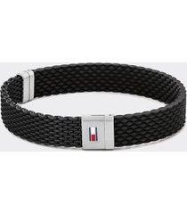 tommy hilfiger men's black silicone bracelet black -