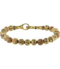 jasper and brass bead bracelet