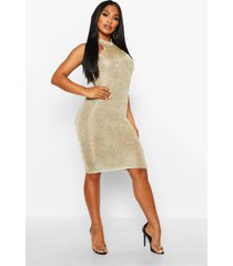 premium knitted metallic bodycon dress, champagne