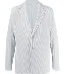 homme plissé issey miyake single breasted pleated blazer - grey
