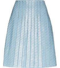 bottega veneta a-line leather skirt - blue