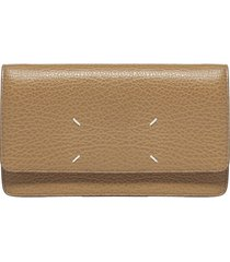 maison margiela logo leather small wallet clutch bag