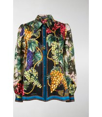 dolce & gabbana grape-print twill shirt