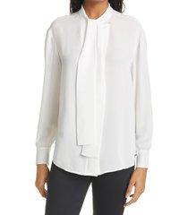 women's rebecca taylor tie neck silk blouse, size x-small - white