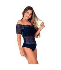 body vip lingerie renda ombro ciganinha azul marinho