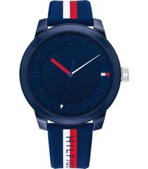 tommy hilfiger men's multicolor striped silicone strap watch 44mm