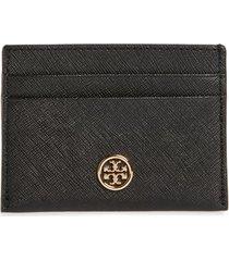 women's tory burch robinson leather card case - black