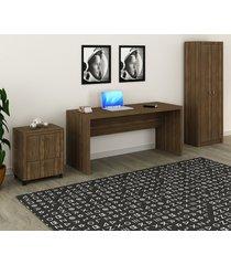 conjunto de escritório com mesa, armário alto e gaveteiro 03 nogal dallas - tricae