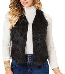 chaleco furry negro  para mujer croydon
