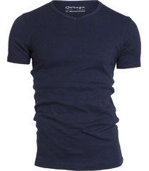 garage basis t-shirt v-hals semi bodyfit blauw