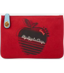 coach 1941 women's retro big apple camp canvas turnlock pouch - red apple