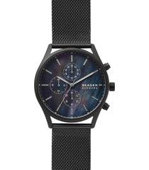 skagen men's chronograph holst black-tone stainless steel mesh bracelet watch 42mm