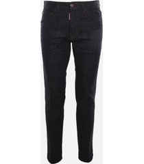 dsquared2 cotton denim jeans with maxi contrasting logo print