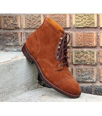 handmade ankle high tan brown suede leather boots classic cap toe trendy boots