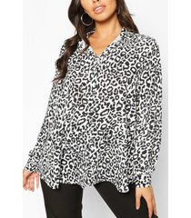 geweven gekleurde blouse met luipaardprint, meerdere