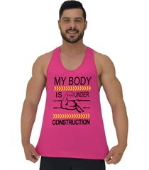regata cavada masculina alto conceito meu corpo esta em construção rosa choque