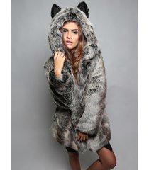 2017 winter womens long sleeve faux fur jacket hooded with bear ear coat outwear