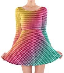 rainbow mini diamonds longsleeve skater dress