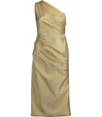 one shoulder ruched lamé dress