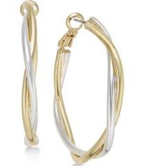 charter club two-tone twisted medium hoop earrings, created for macy's