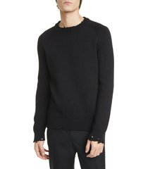 men's saint laurent distressed crewneck sweater