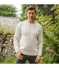 men's sherkin aran sweater cream xl