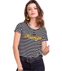 camiseta adulto femenino bicolor rayas negras y marfil marketing  personal