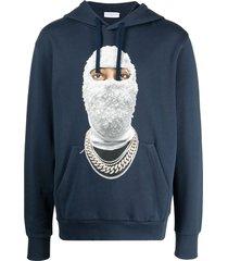ih nom uh nit graphic-print drawstring hoodie - blue