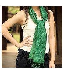 silk scarf, 'emerald supreme' (thailand)