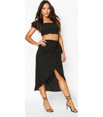 tie waist beach sarong, black
