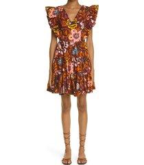 women's la doublej honeybun tiered poplin cover-up dress, size large - brown (nordstrom exclusive)