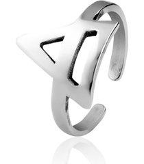 anel de prata sal do mar para falange triângulo