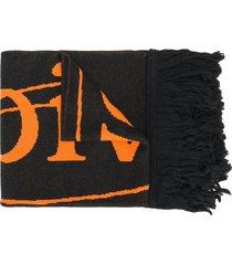 off-white intarsia-knit scarf - black