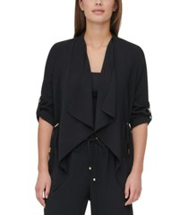 calvin klein cinch-waist flyaway jacket