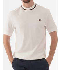 fred perry crew neck pique t-shirt - snow white m5-b34