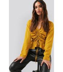 na-kd drawstring long sleeve blouse - yellow