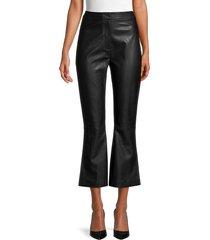 lea & viola women's faux leather pants - black - size m