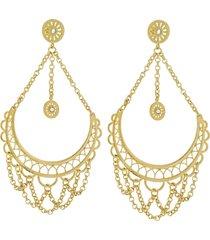 orecchini pendenti in ottone dorato e glitter per donna