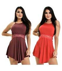 kit 2 camisola microfibra renda luxo sensual vestido bordô vermelho