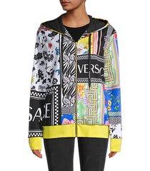 activewear multicolor zip hoodie