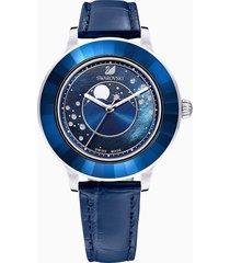 orologio octea lux moon, cinturino in pelle, blu scuro, acciaio inossidabile