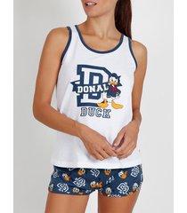 pyjama's / nachthemden admas pyjama korte tanktop donald duck disney wit