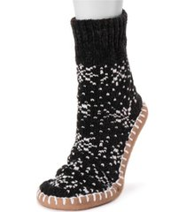 muk luks women's chenille short slipper socks