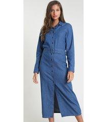 vestido chemise jeans feminino mindset midi com cinto manga longa azul médio