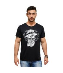 camiseta algodáo penteado estampa caveira mah cm01 preta