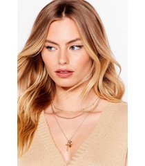 womens cross your heart layered chain necklace - gold