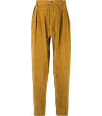 e. tautz ribbed tapered trousers - yellow